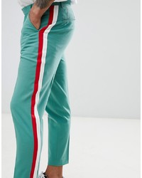 ASOS DESIGN Skinny Crop Smart Trousers In Green With Red White