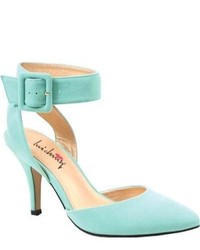 Mint Cutout Suede Pumps