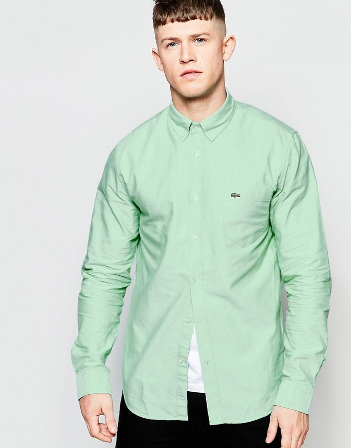 465256e2cf4 ... Lacoste Oxford Shirt In Green Regular Fit ...