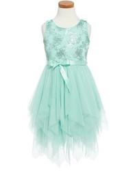 Girls Zunie Floral Sequin Fairy Hem Party Dress Size 4 Bluegreen