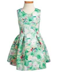 Halabaloo Floral Scuba Fit Flare Dress