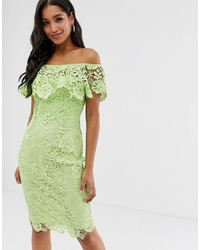 Paper Dolls Bardot Lace Pencil Dress With Frill Detail In Lime