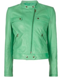 Mint Leather Biker Jacket