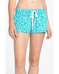 Make + Model Fleece Shorts Green Veridian Leopard Large
