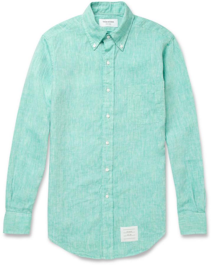 858e864507c1 ... Thom Browne Slim Fit Linen Shirt ...