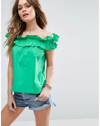 Asos Off Shoulder Top In Cotton With Ruched Edge