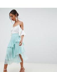 Mint Pleated Chiffon Midi Skirt
