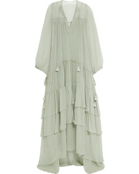 Chloé Tiered Silk Mousseline Maxi Dress Green