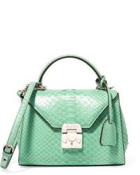 MARK CROSS Hadley Baby Python Shoulder Bag Mint