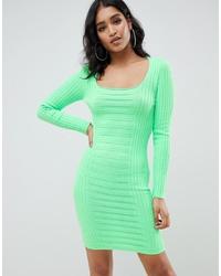 ASOS DESIGN Mixed Rib Square Neck Mini Dress