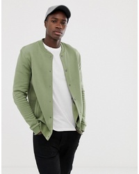 ASOS DESIGN Bomber Jersey Jacket In Khaki With Poppers