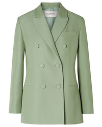 Valentino Double Breasted Silk And Wool Blend Blazer