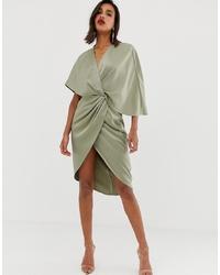 ASOS DESIGN Satin Kimono Midi Dress With Knot Front And Asymmetric Sleeve