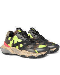 Valentino Garavani Bounce Camouflage Print Leather Mesh And Suede Sneakers