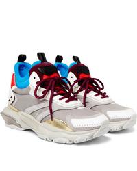 Valentino Garavani Bounce Metallic Leather Mesh Suede And Neoprene Sneakers