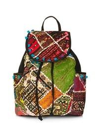 Topshop Patchwork Backpack Green Multi