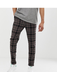 ASOS DESIGN Tall Tapered Trouser In Wool Mix Check With Turn Up