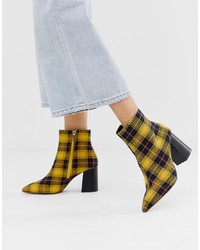 Miss Selfridge Pointed Heeled Boots In Check