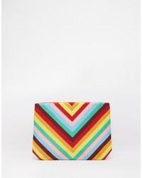Moyna Clutch Bag In Rainbow Chevron Print