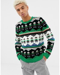 ASOS DESIGN Hand Knitted Heavyweight Jumper With Novelty Design