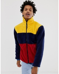 Billionaire Boys Club Colour Block Fleece Jacket In Navy