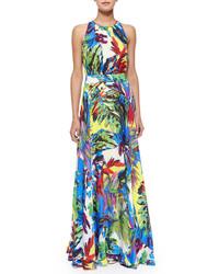 Milly Arabelle Floral Print Halter Maxi Dress