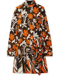 Prada Appliqud Pleated Floral Print Jersey Mini Dress
