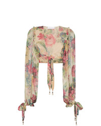 Zimmermann Melody Floral Print Cropped Silk Blouse