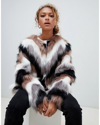New Look Chevron Faux Fur Coat