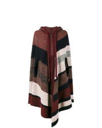 Chloé Knitted Stripe Hooded Poncho