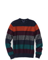 Multi colored Horizontal Striped Crew-neck Sweater