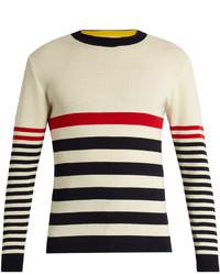MAISON KITSUNÉ Crew Neck Striped Wool Sweater