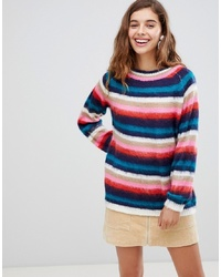 Willow and Paige Willow Paige Fluffy Knit Jumper In Stripe