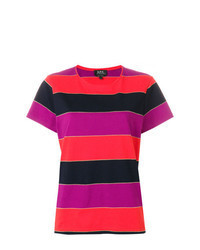 Multi colored Horizontal Striped Crew-neck T-shirt