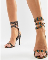 Multi colored Horizontal Striped Leather Heeled Sandals