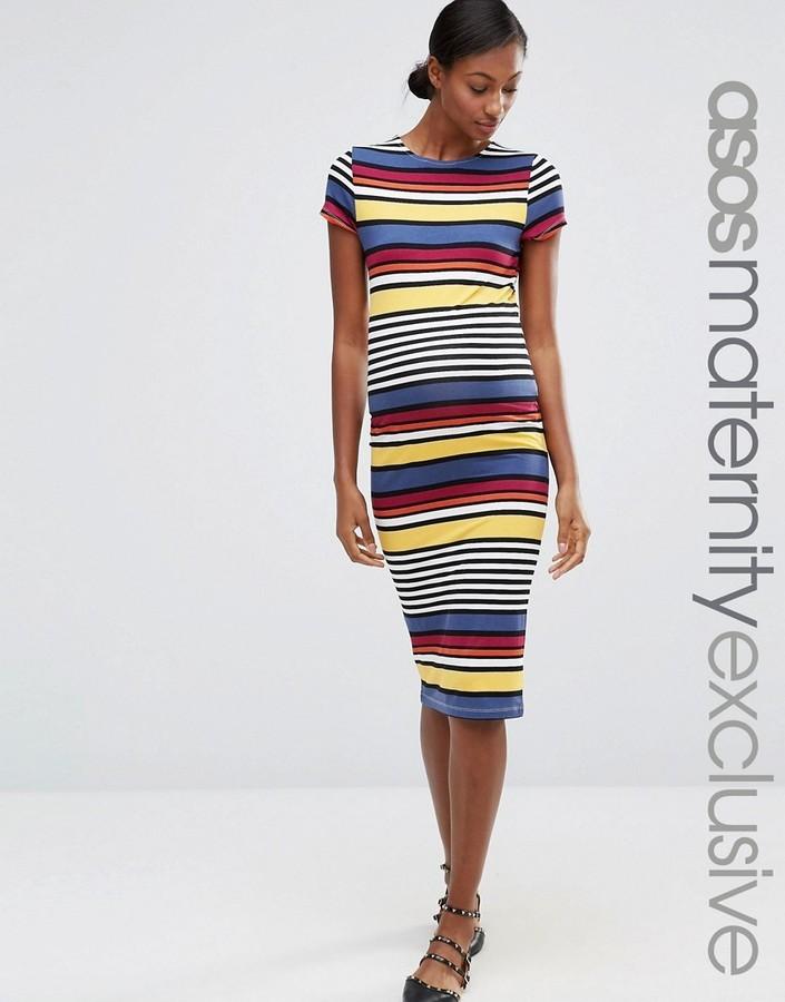 3024a812a35c ... Dresses Asos Maternity Stripe Midi Bodycon Dress With Short Sleeve ...