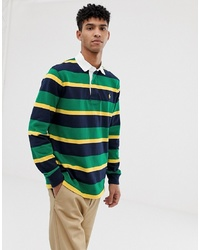 Polo Ralph Lauren Stripe Player Logo Rugby Polo In Green Multi
