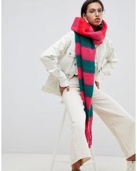 ASOS DESIGN Bright Stripe Fluffy Long Scarf With Tassels