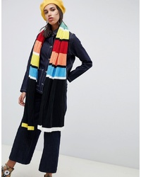 ASOS DESIGN Knitted Rib Scarf With Multi Stripe