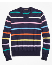 How to Wear a Multi colored V neck Sweater For Men (2 looks
