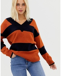 Miss Selfridge V Neck Jumper In Stripe
