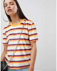 The Ragged Priest Shrunken T Shirt In Stripe Velvet