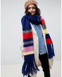 ASOS DESIGN Knitted Blocked Stripe Scarf With Tassels
