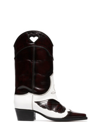 Ganni White And Dark Brown Marlyn 45 Leather Cowboy Boots