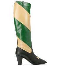 Gucci Zummi Gg Horsebit Striped Knee High Boots