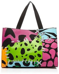 Multi colored Leather Tote Bag
