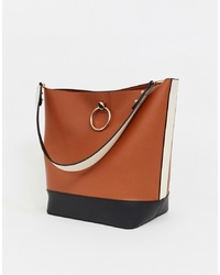 Warehouse Tote Bag With Ring Detail In Tan