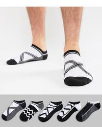 ASOS DESIGN Trainer Socks In Monochrome Design 5 Pack