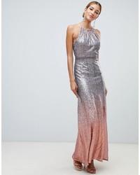 Little Mistress High Neck Allover Ombre Sequin Maxi Dress In Rose Multi