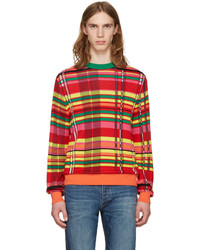 Multi colored Plaid Crew-neck Sweater